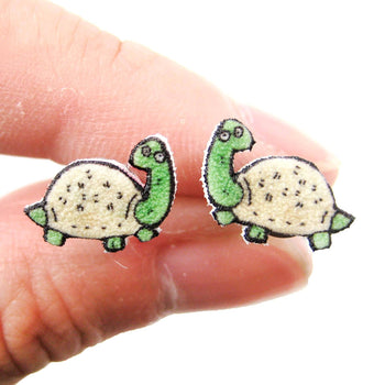 Tiny Turtle Tortoise Animal Illustration Stud Earrings | Handmade Shrink Plastic | DOTOLY
