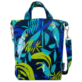 Blue Toucan Parrot Tropical Bird Print Crossbody Duck Top Handle Tote Bag