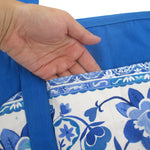 Large Utility Floral Print Blue Canvas Shoulder Tote Diaper Bag for Women