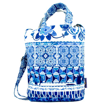 Blue Mosaic Floral Print Pattern Crossbody Duck Top Handle Tote Bag