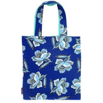 Bright Blue Floral Print Reversible Tote Bags for Women
