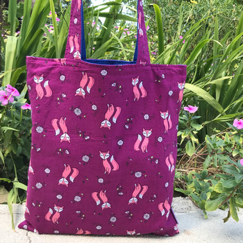 Purple Pretty Fox Animal Print Reversible Tote Bags for Women