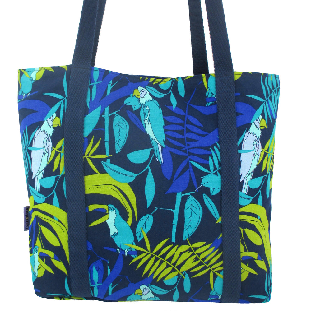 Colorful Toucan Parrot Bird Animal Pattern Large Utility Market Tote Bag
