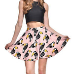 Toucan All Over Print Circle Skirt with Elastic Waist in Pink | DOTOLY