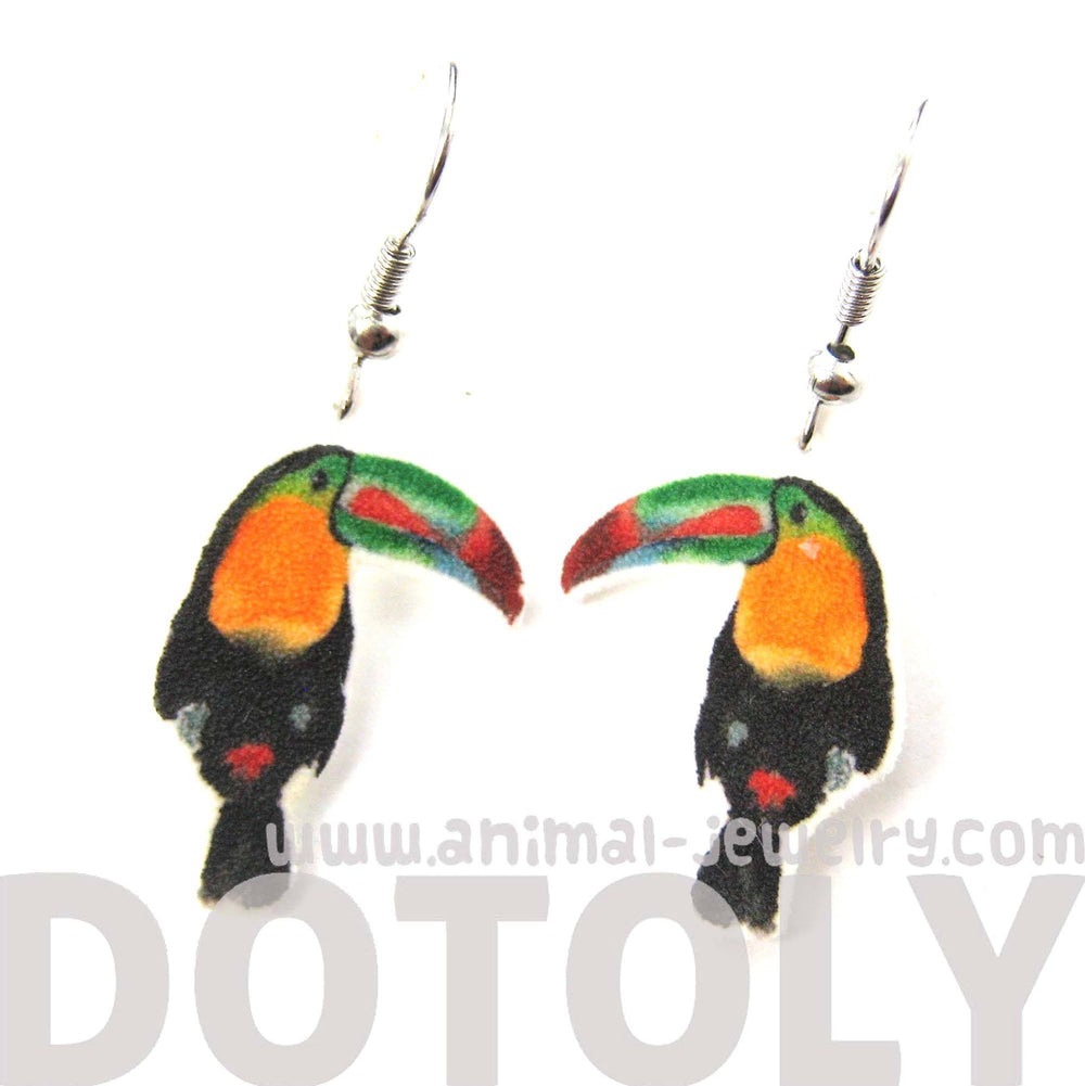 Toucan Tropical Bird Animal Watercolor Dangle Earrings | Handmade Shrink Plastic | DOTOLY