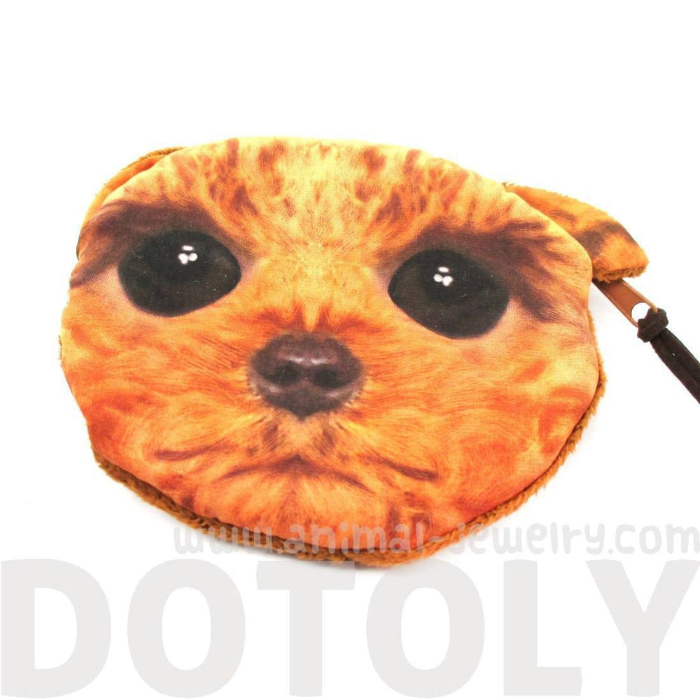 Toy Poodle Puppy Dog Face With Big Eyes Shaped Soft Fabric Zipper Coin Purse Make Up Bag | DOTOLY