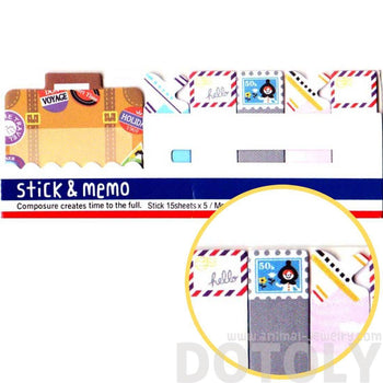 Travel Themed Suitcase Airmail Stamps Memo Pad Post-it Index Sticky Tabs | DOTOLY