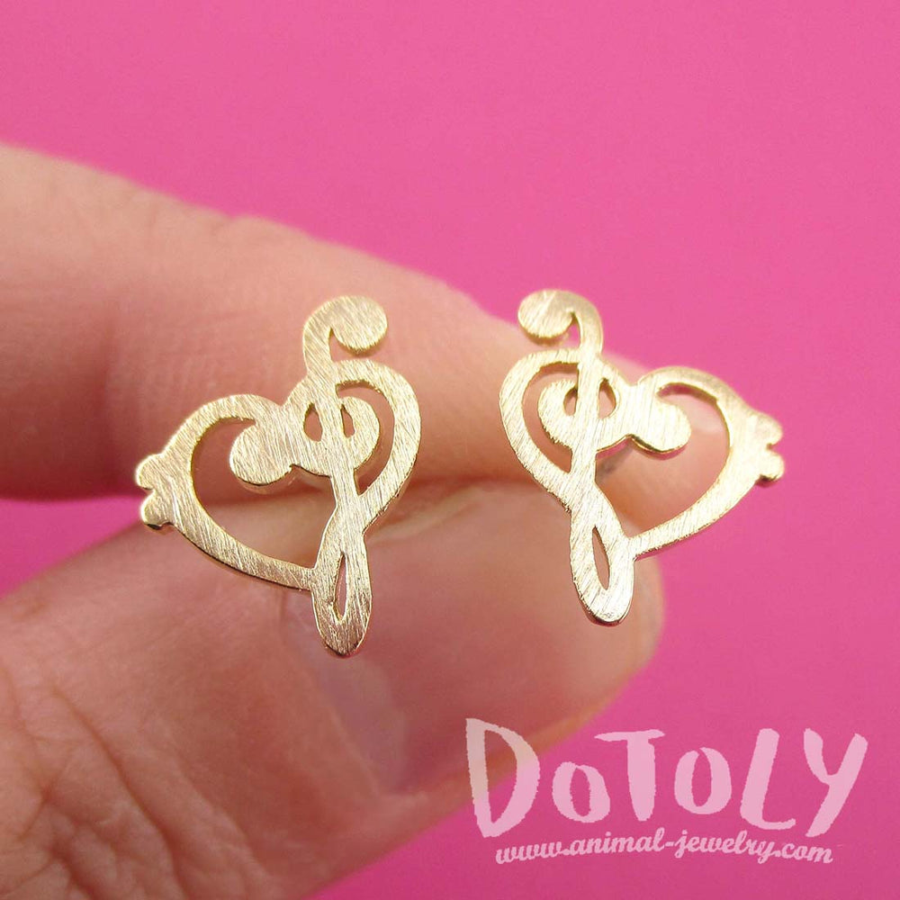 Treble and Bass Clef Heart Shaped Music Lovers Stud Earrings in Gold