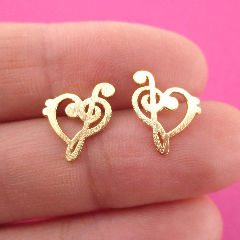 gold round earrings shaped simple original heart products with allergy img stud free detail