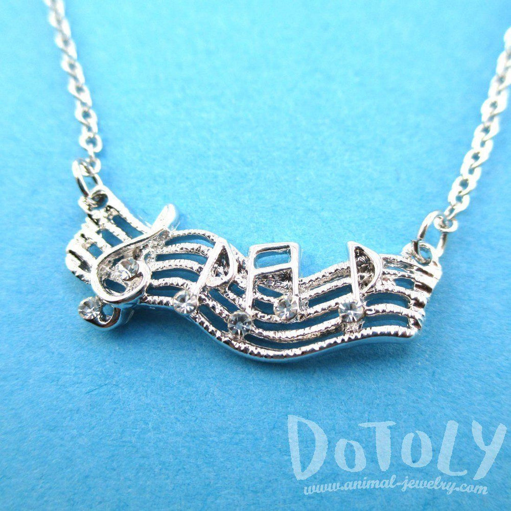 Treble Clef Musical Notes on Score Shaped Music Themed Necklace in Silver | DOTOLY