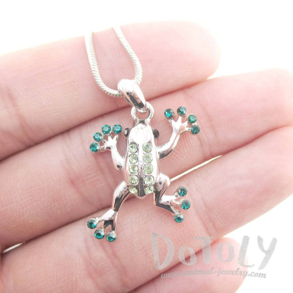 Tree Frog Shaped Green Rhinestone Pendant Necklace in Silver | DOTOLY
