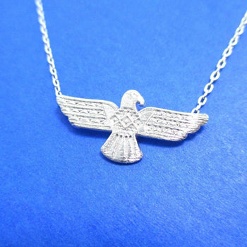 Tribal Eagle Shaped Bohemian Charm Necklace in Silver | DOTOLY | DOTOLY