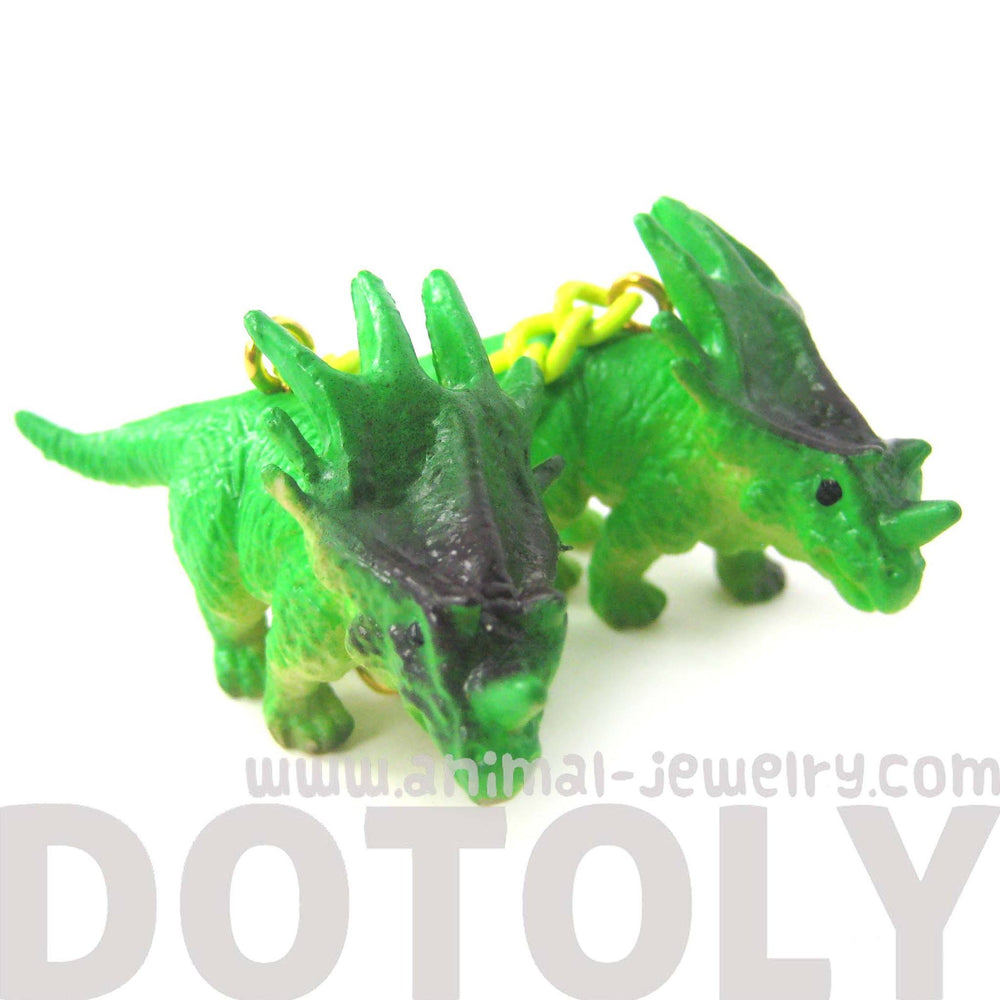 Triceratops Dinosaur Animal Figurine Shaped Dangle Earrings in Green | DOTOLY