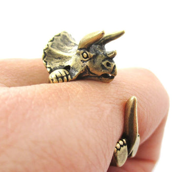 Triceratops Dinosaur Prehistoric Animal Wrap Around Hug Ring in Brass | US Size 4 to 8.5 | DOTOLY