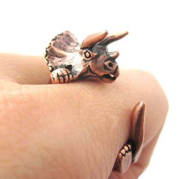 Triceratops Dinosaur Prehistoric Animal Wrap Around Hug Ring in Copper | US Size 4 to 8.5 | DOTOLY