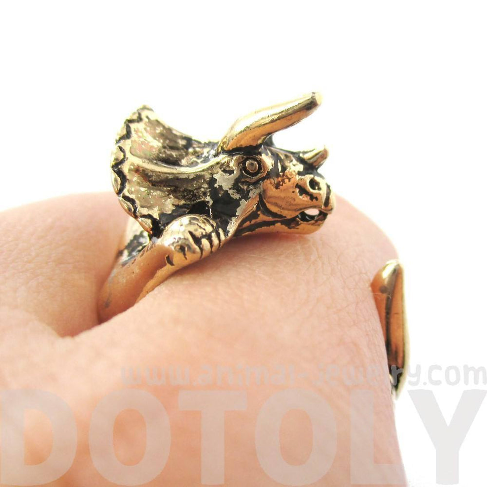 Triceratops Dinosaur Prehistoric Animal Wrap Around Hug Ring in Shiny Gold | US Size 4 to 8.5 | DOTOLY