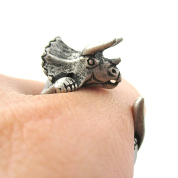 Triceratops Dinosaur Prehistoric Animal Wrap Around Hug Ring in Silver | US Size 4 to 8.5 | DOTOLY