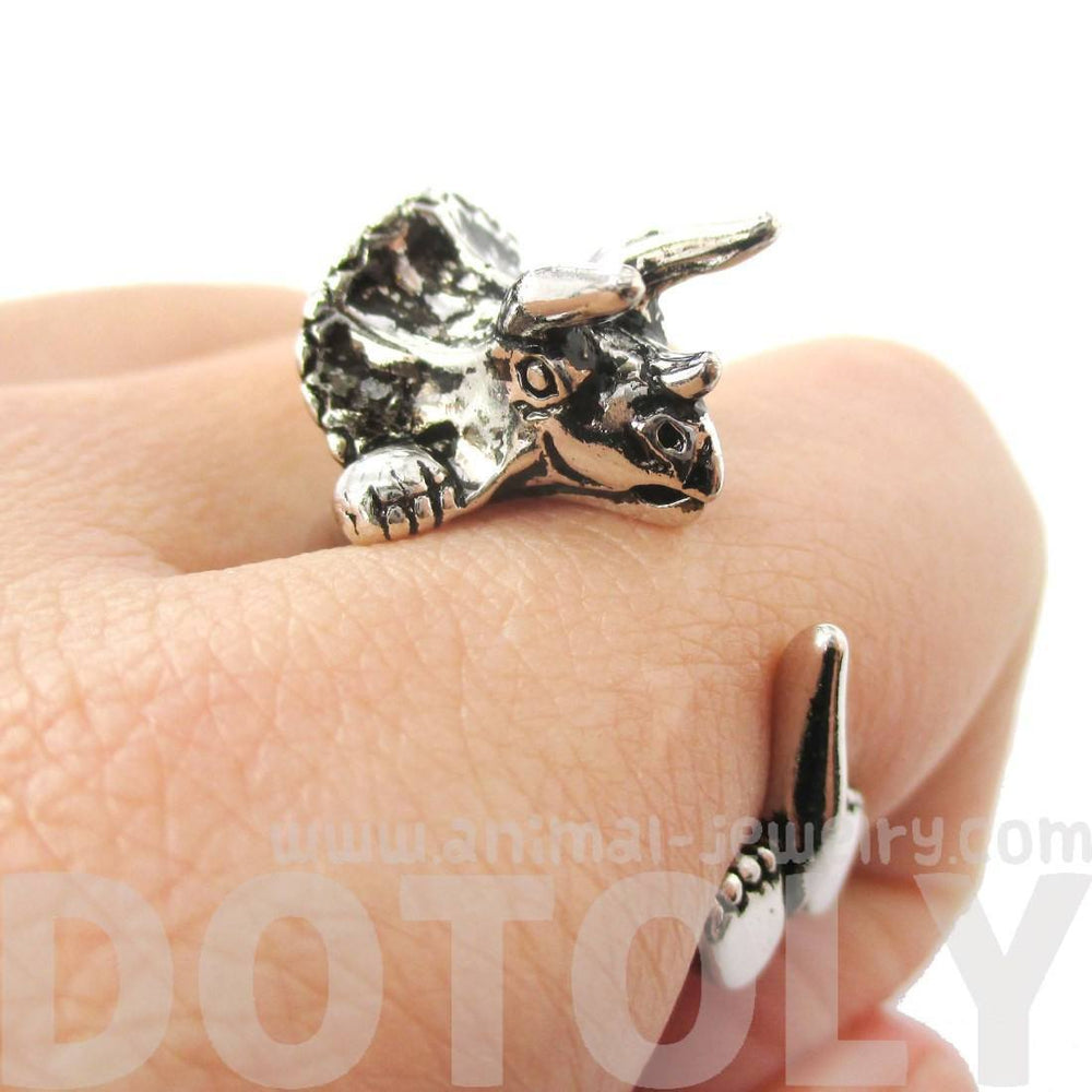 Triceratops Dinosaur Shaped Animal Wrap Around Hug Ring in Shiny Silver | US Size 4 to 8.5 | DOTOLY