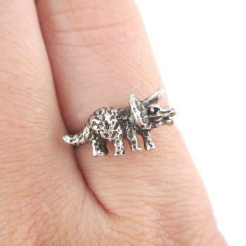 Triceratops Dinosaur Shaped Jurassic World Adjustable Ring in Silver