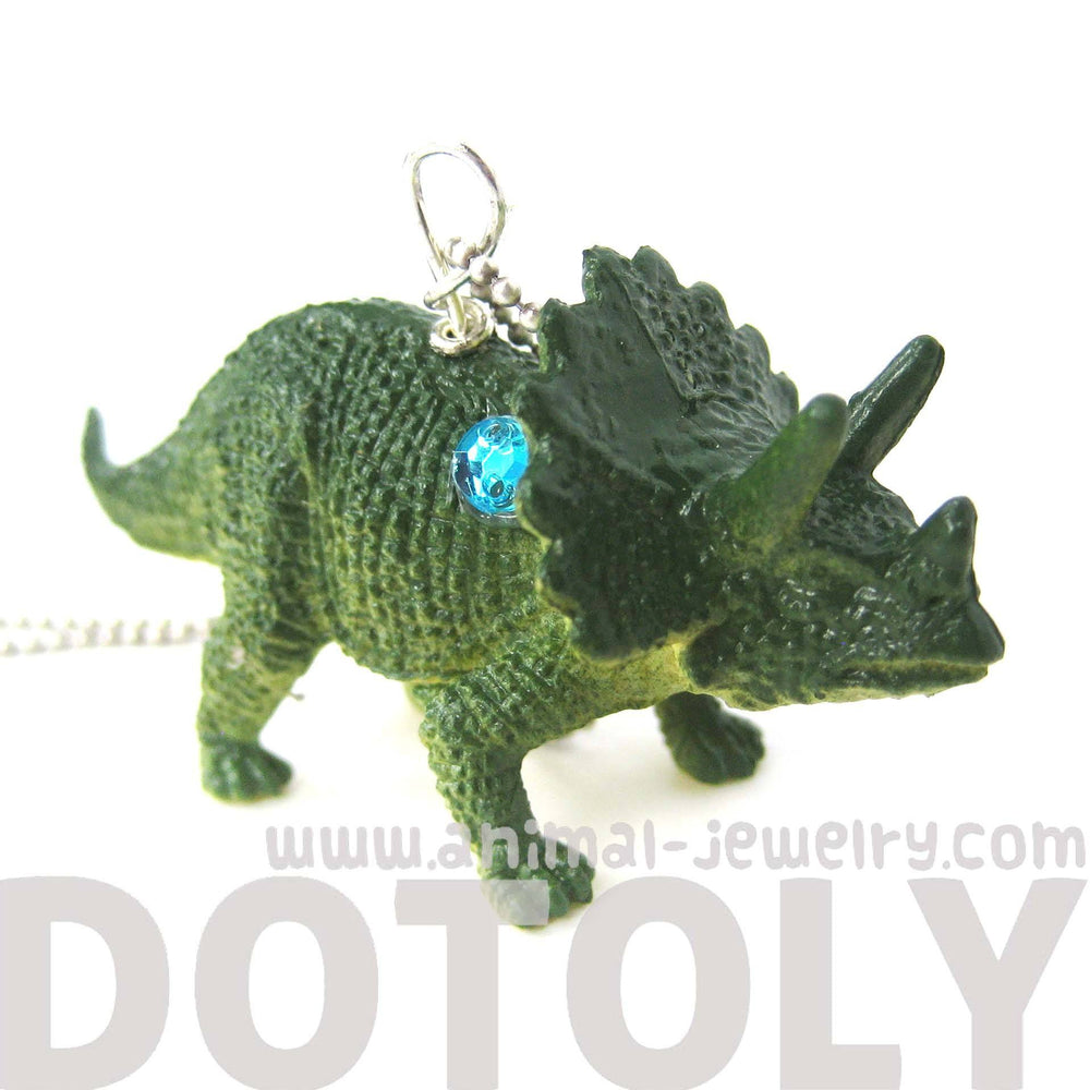 Triceratops Dinosaur Shaped Pendant Necklace in Green | Animal Jewelry | DOTOLY
