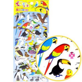 Tropical Birds Animal Themed Owl Flamingo Penguin Parrot Puffy Stickers for Scrapbooking | DOTOLY