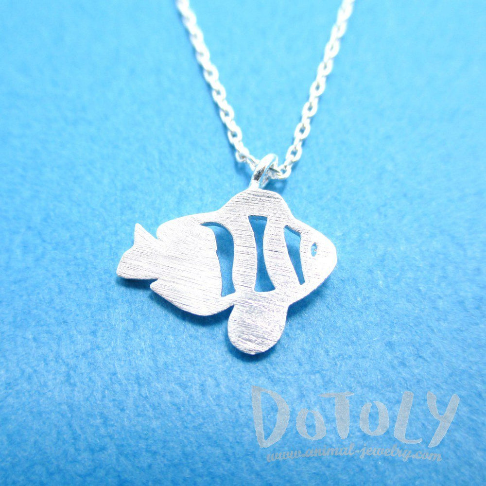 Tropical Clown Fish Shaped Marine Life Inspired Pendant Necklace in Silver