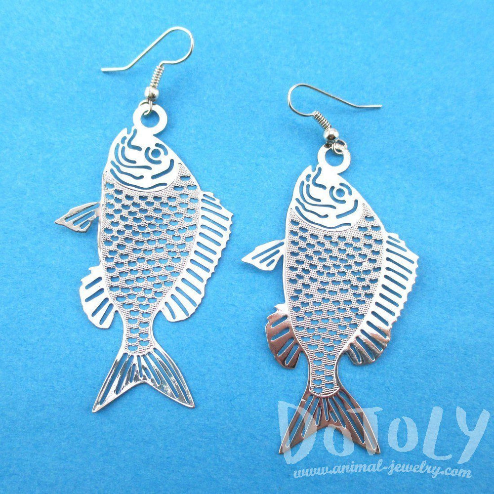 Trout Fish Cut Out Shaped Dangle Earrings in Silver | Animal Jewelry | DOTOLY
