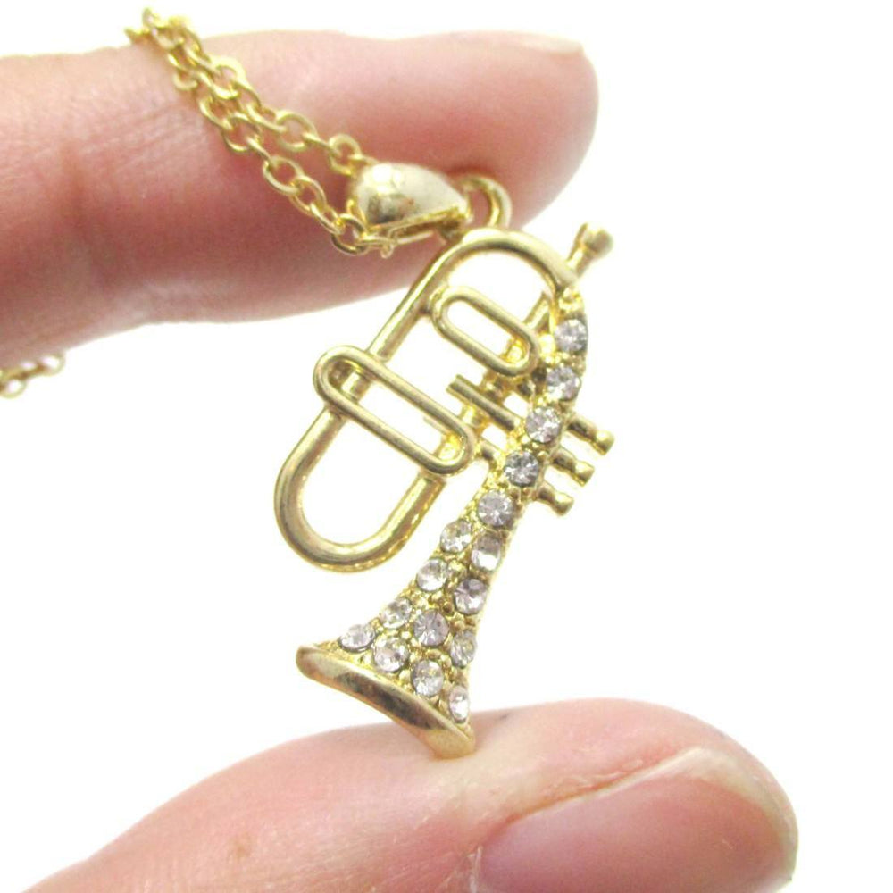 Trumpet Instrument Shaped Rhinestone Pendant Necklace in Gold | For Music Lovers | DOTOLY