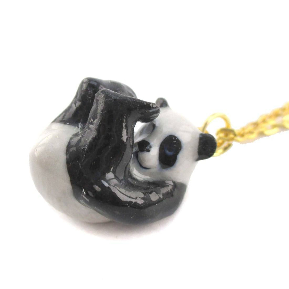 Tumbling Porcelain Panda Bear Animal Inspired Ceramic Pendant Necklace