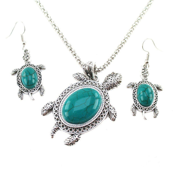 Turquoise Sea Turtle Dangle Earrings and Pendant Necklace 2 Piece Set