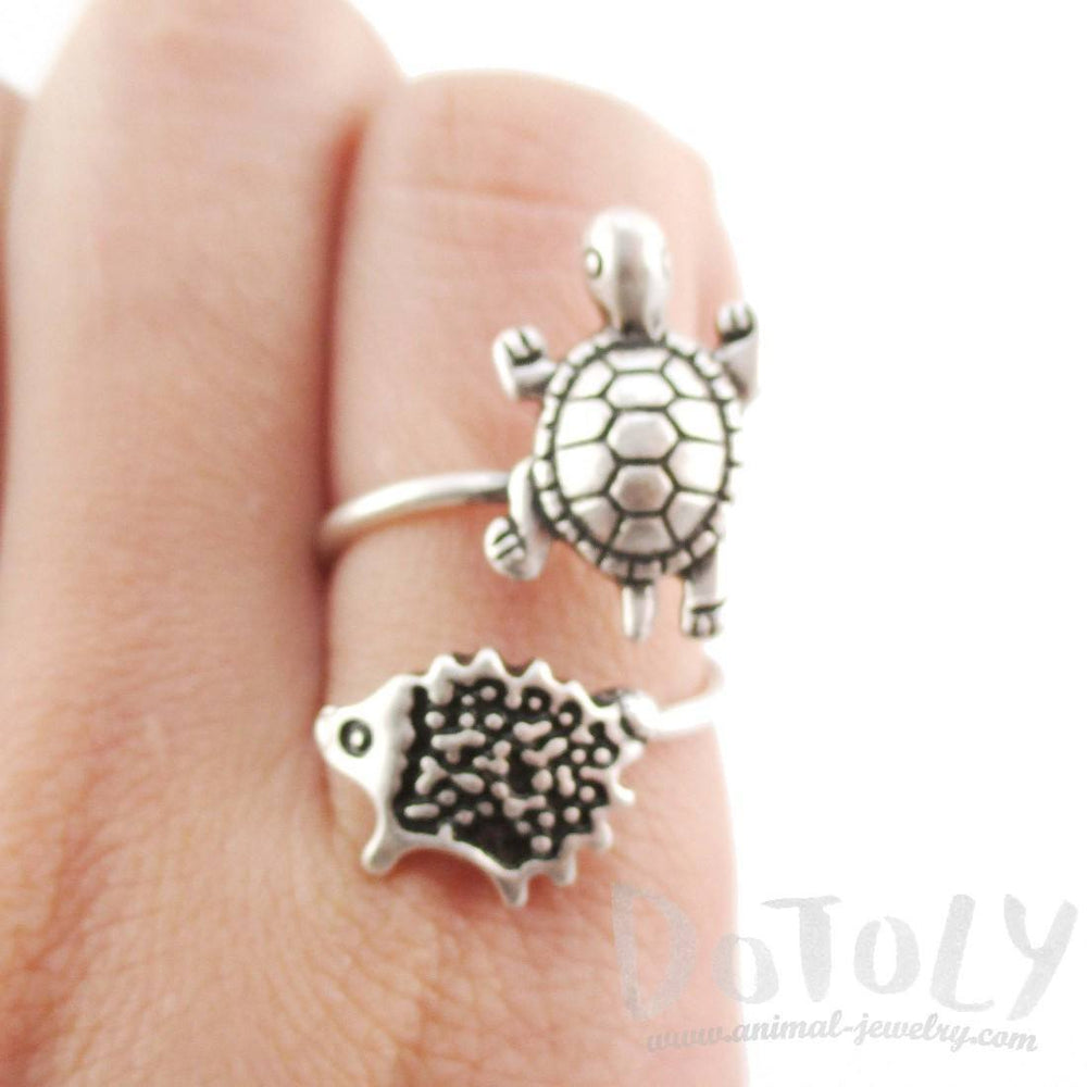 Turtle and Hedgehog Porcupine Wrap Around Adjustable Ring in Silver | DOTOLY | DOTOLY