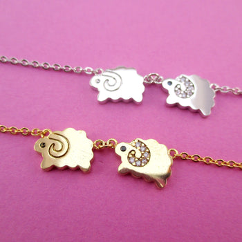 Two Little Sheep Mountain Goat Shaped Charm Necklace in Gold or Silver