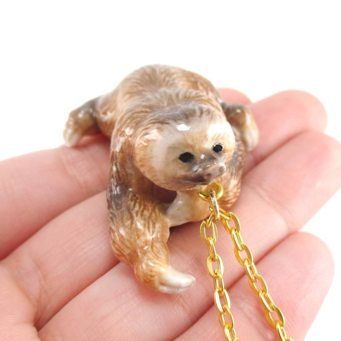 jewellery organza bag quirky fun dsc massive products in gold hanging and plated cute smiling sloth necklace pendant