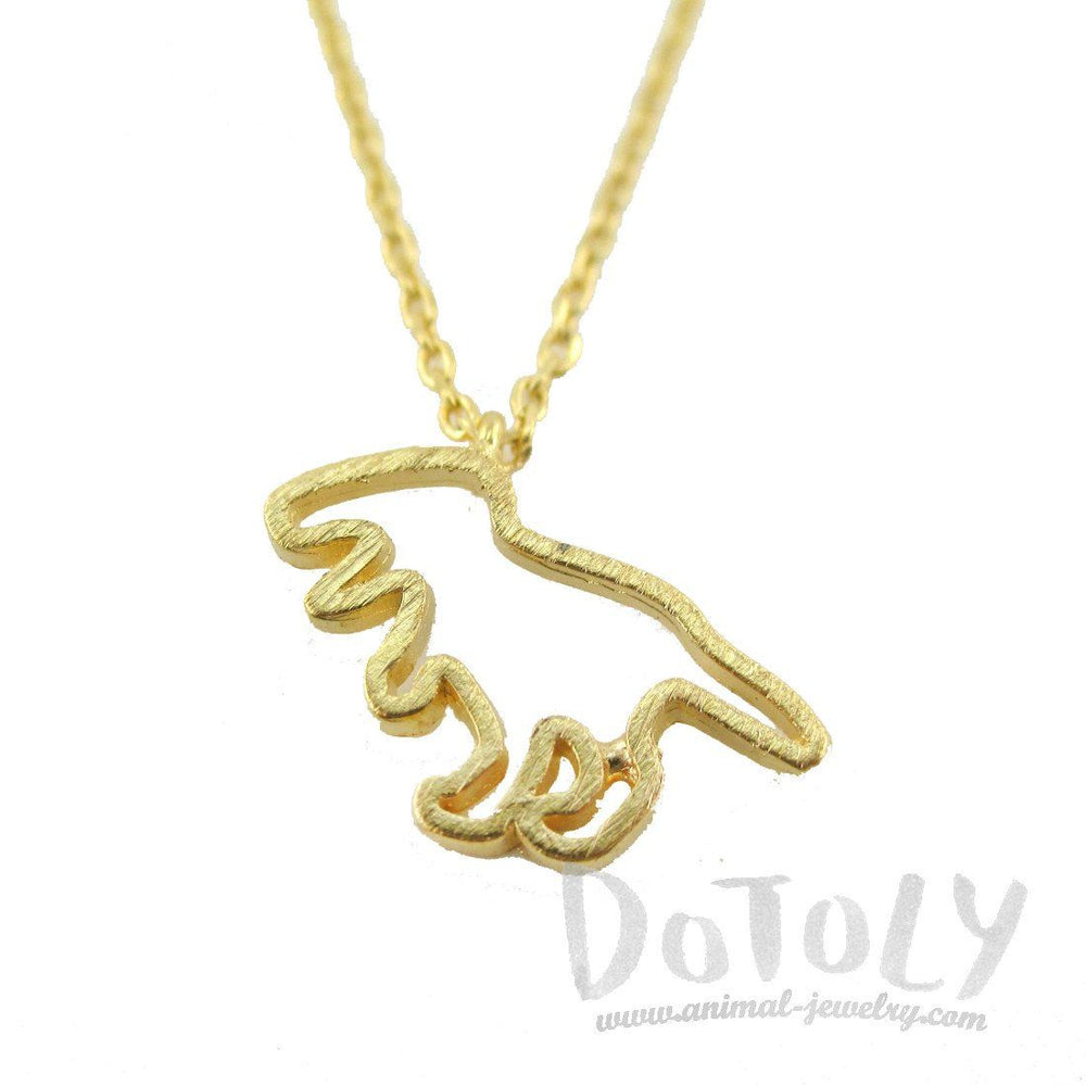 Tyrannosaurus Rex Dinosaur Outline Shaped Charm Necklace in Gold