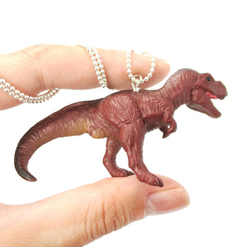 Tyrannosaurus Rex Dinosaur Shaped Figurine Pendant Necklace in Brown | Animal Jewelry | DOTOLY