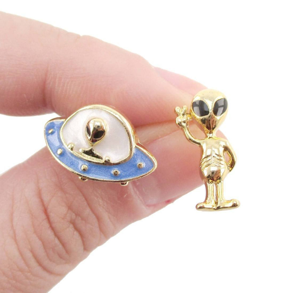 UFO and Alien Shaped Space Themed Enamel Stud Earrings | DOTOLY | DOTOLY