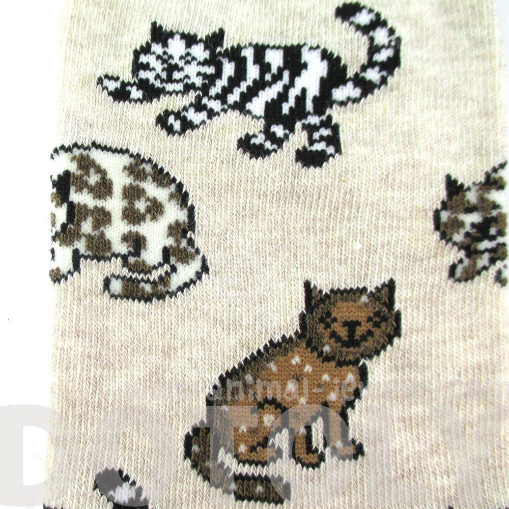 Ultimate Cat Lady Kitty Print Socks for Women in Beige | DOTOLY