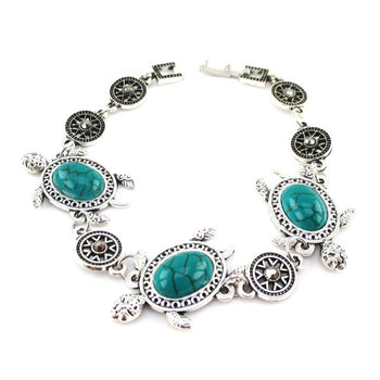 Ultimate Sea Turtle Charm Turquoise Bracelet in Silver with Clasp