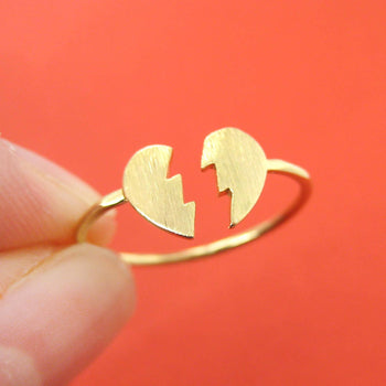 Unbreak My Heart | Broken Heart Shaped Adjustable Ring in Gold | DOTOLY | DOTOLY