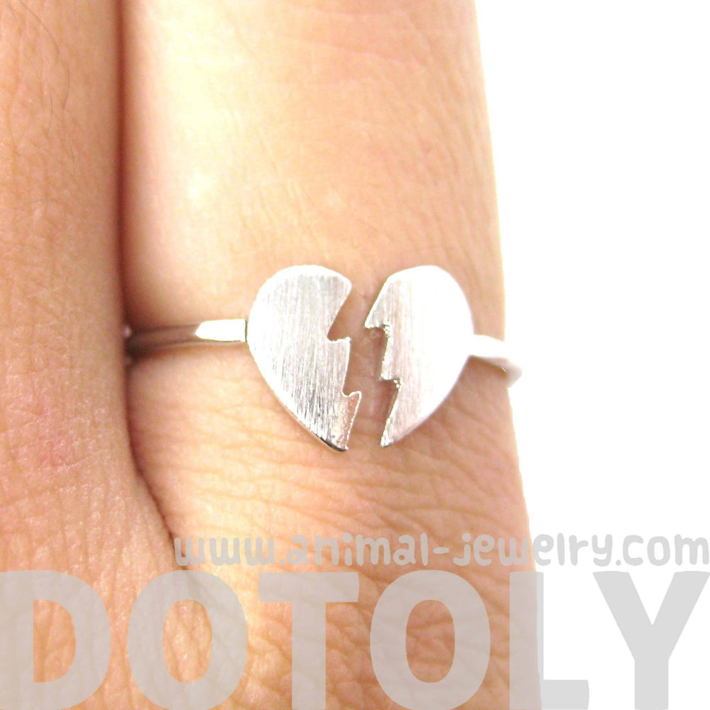 Unbreak My Heart | Broken Heart Shaped Adjustable Ring in Silver | DOTOLY | DOTOLY