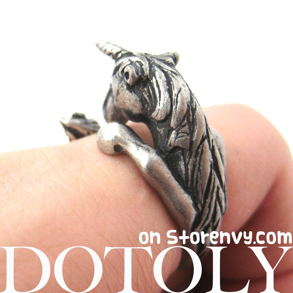 Unicorn Horse Detailed Animal Wrap Around Ring in Silver - Size 5 to 9 | DOTOLY