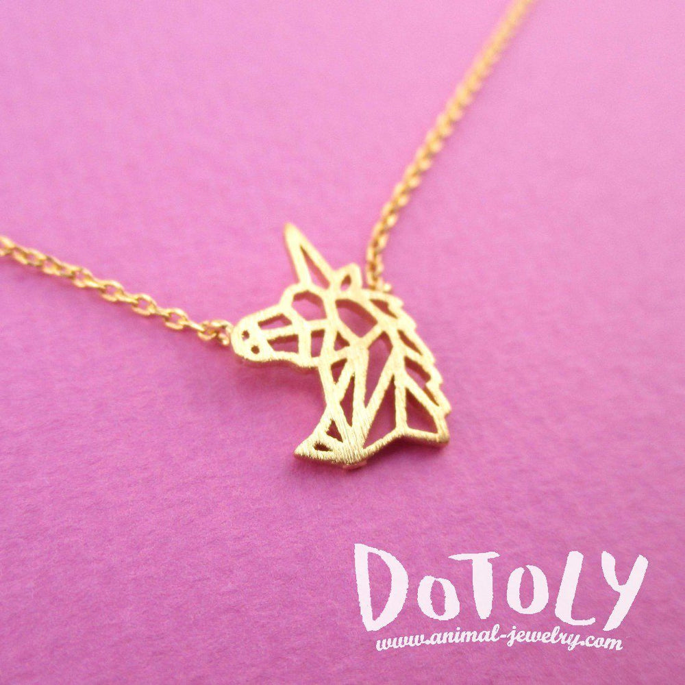 Unicorn Head Shaped Outline Dye Cut Charm Necklace in Gold