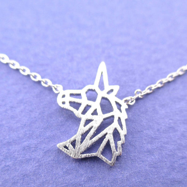 Unicorn Head Shaped Outline Dye Cut Charm Necklace in Silver