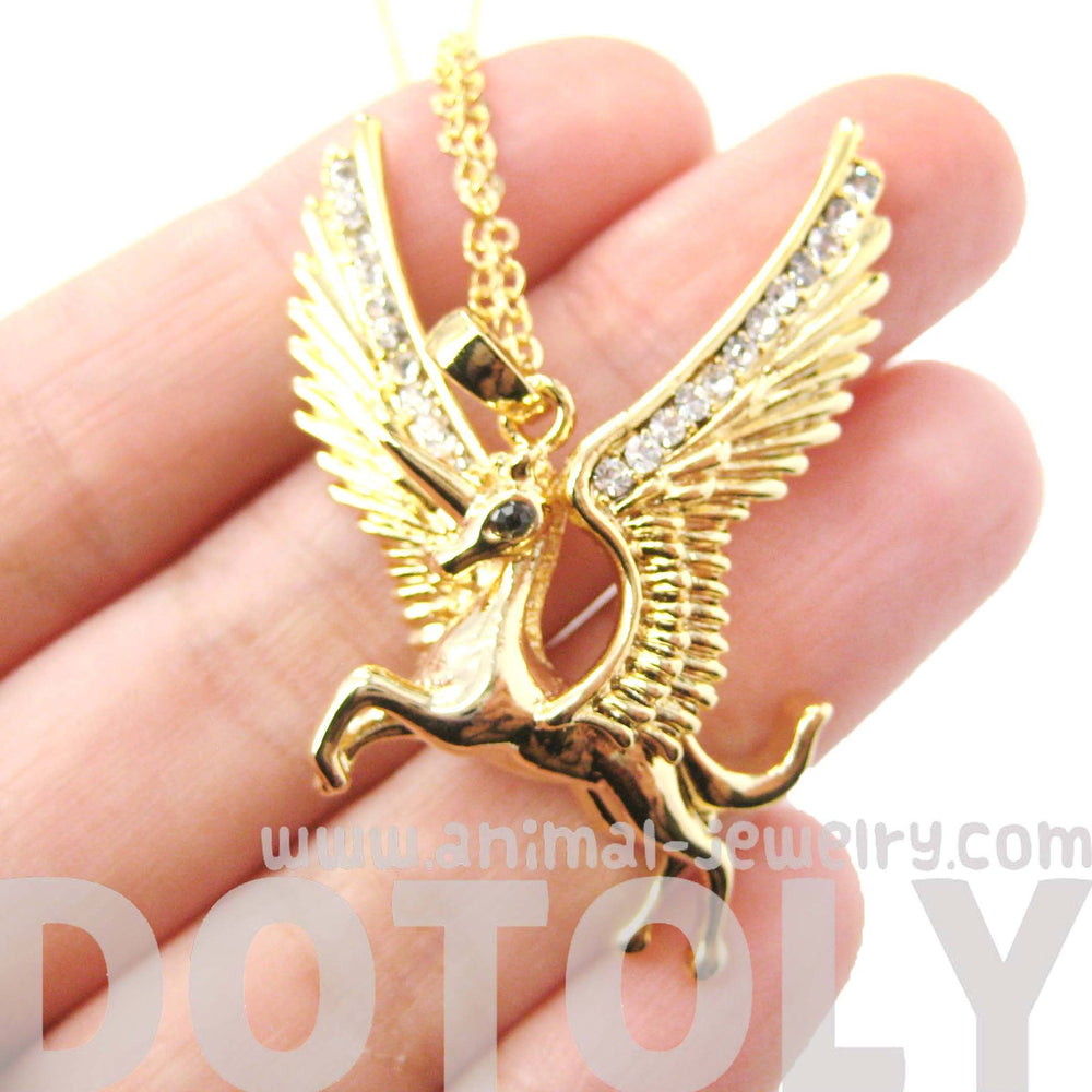 Unicorn Horse Animal Pendant Necklace in Gold with Large Wings | Animal Jewelry | DOTOLY