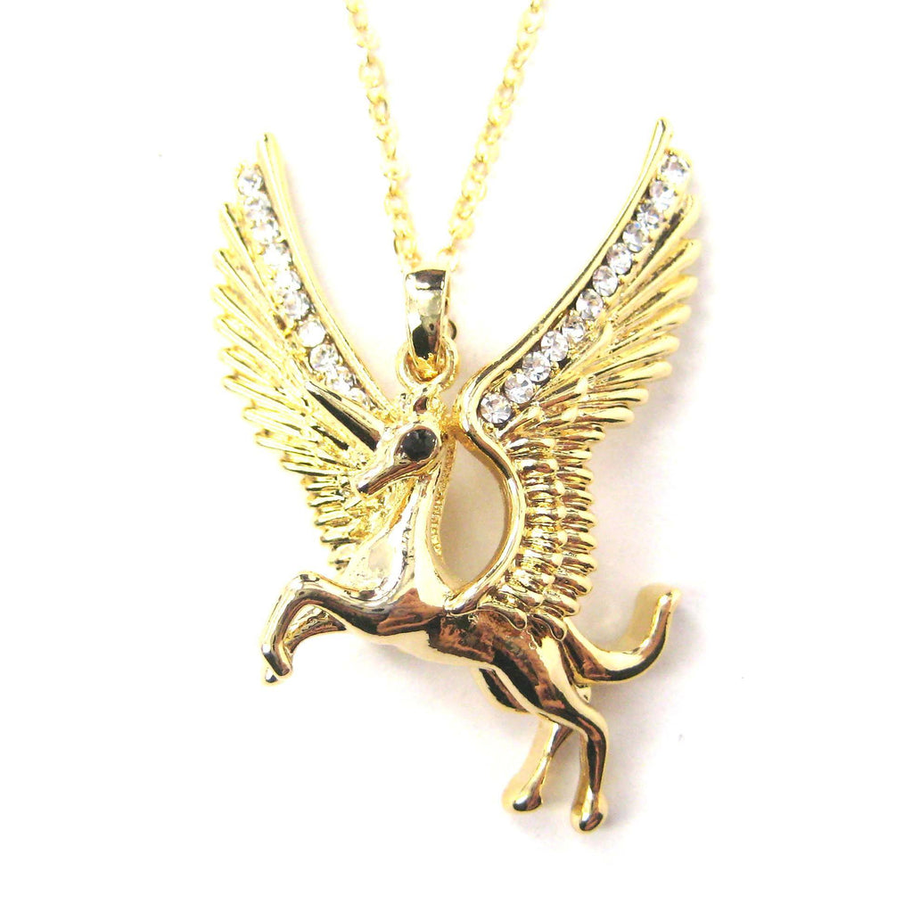 Unicorn horse animal pendant necklace in gold with wings dotoly aloadofball Image collections