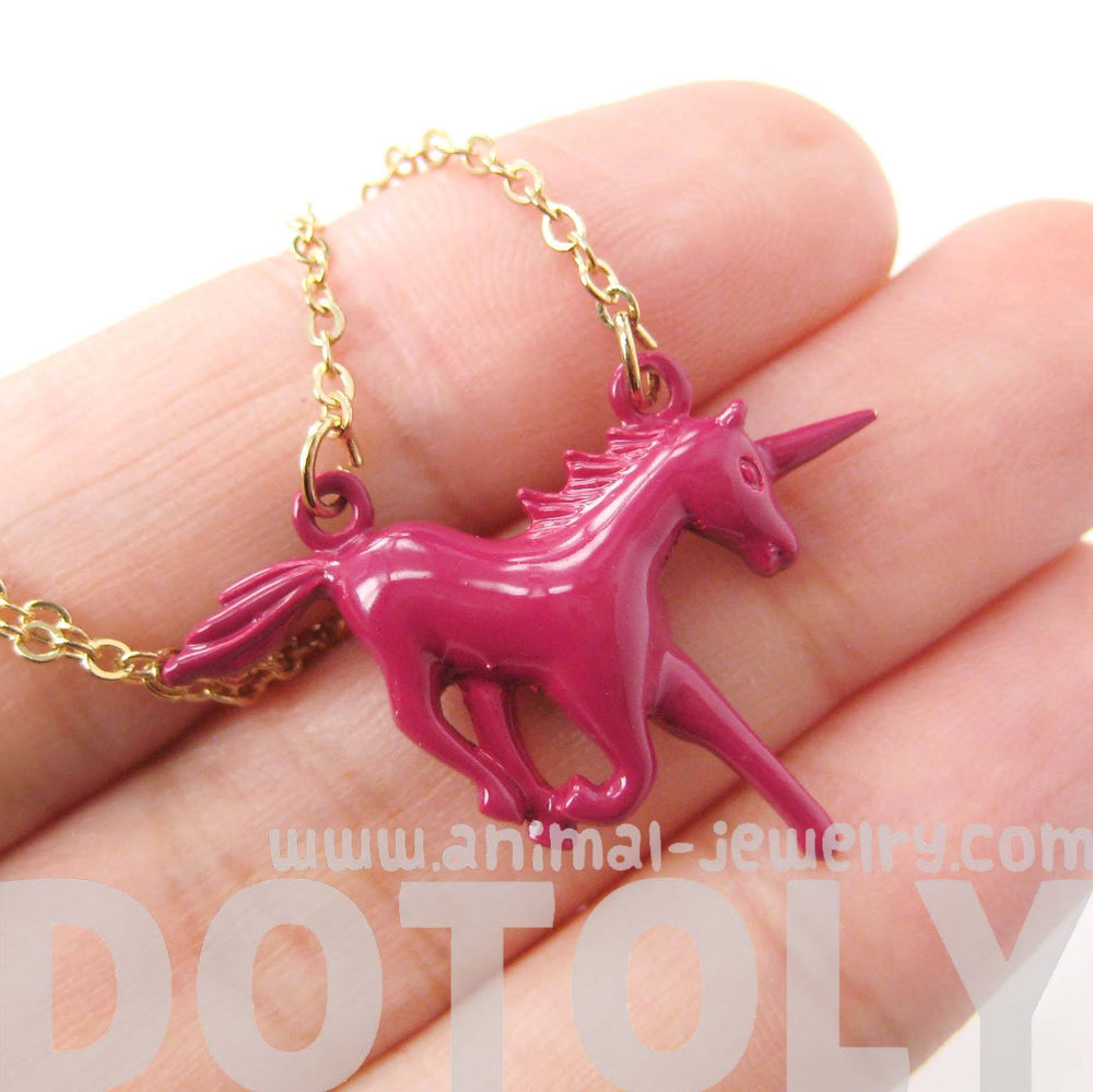 Unicorn Horse Animal Pendant Necklace in Maroon Red | Animal Jewelry | DOTOLY
