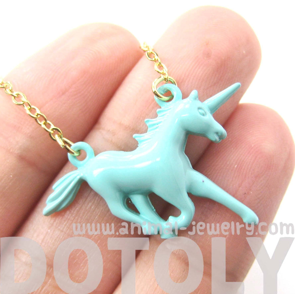 Unicorn Horse Animal Pendant Necklace in Mint Blue | Animal Jewelry | DOTOLY