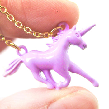 Unicorn Horse Animal Pendant Necklace in Pale Purple | Animal Jewelry | DOTOLY