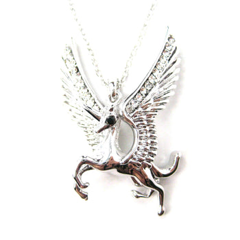 Unicorn Horse Animal Pendant Necklace in Silver with Large Wings | Animal Jewelry | DOTOLY