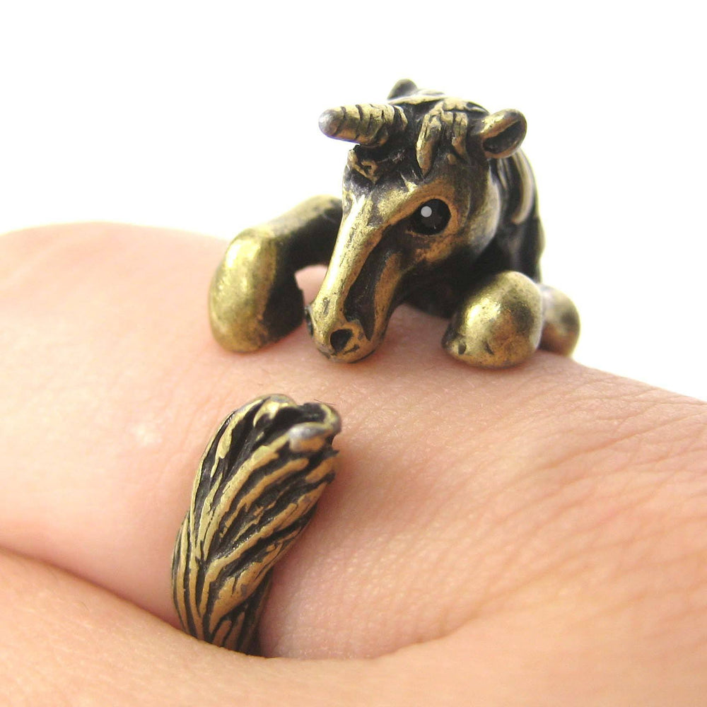 Unicorn Horse Detailed Animal Wrap Around Ring in Brass - Size 5 to 9 | DOTOLY